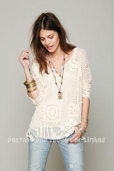 louca por linhas - crochet e patchwork: mais uma túnica liiinda!!!!