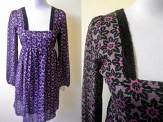 Spring Sale: magenta floral geometric empire dress (small; maternity) by VintageHomage