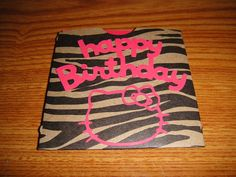 Handmade Hello Kitty Inspired Birthday Card by loveshappyhour, $2.00