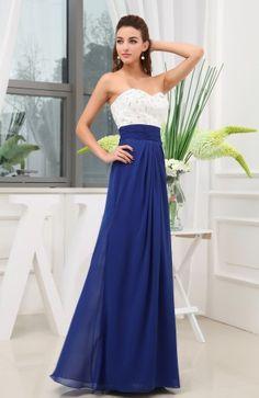 Electric Blue Simple A-line Sleeveless Zipper Chiffon Beaded Wedding Guest Dress