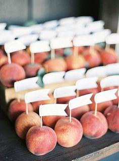 Peach escort cards - wedding