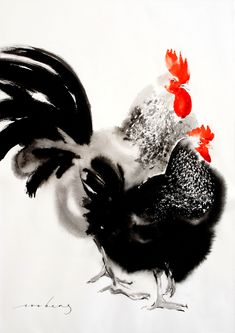 """""""Hensome Pair"""" by Soo Beng Lim. Paintings for Sale. Rooster Painting, Rooster Art, Chicken Painting, Chicken Art, Watercolor Bird, Watercolor Animals, Animal Paintings, Paintings For Sale, Beautiful Chickens"""