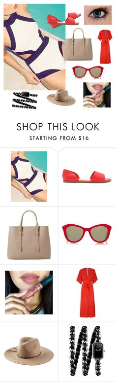 """""""Patriotic at the beach"""" by worthen-ava on Polyvore featuring Forever 21, MANGO, Le Specs, Glamorous, Emilio Pucci, Chanel, women's clothing, women's fashion, women and female"""