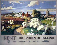 Kent, Garden of England, Vintage Railway Travel Poster Print by British Railways Southern Region Travel English, British Travel, Travel Uk, Posters Uk, Railway Posters, Modern Posters, Train Posters, British Railways, British Isles
