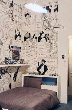 Nicholas' bedroom walls are covered with personalized comic drawings of Pokémon and Tin Tin
