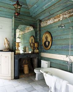 I love the weathered clapboard interior of this bathroom. The textured and weathered blues, the stone tiles, the vintage and architectural elements – all mixed with clean, white porcelain. Image courtesy of House of Turquoise. Interior, Home, Rustic Bathroom Wall Decor, Bathroom Wall Decor, House Styles, Elegant Bathroom, Bathroom Design, Beautiful Bathrooms, Rustic House