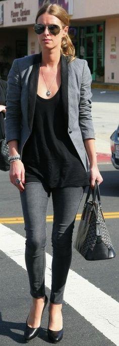 grey blazer Nicky Hilton