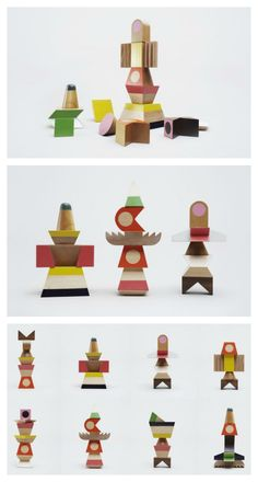 Totems is a set of 13 pieces made out of lacquered lime tree and walnut. Combine, stack and create your own totem!