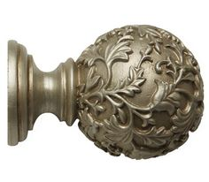 Rolls Modern Country Floral Ball Finial for Curtain Poles Curtain Pole Brackets, Wooden Curtain Poles, Decorating Tools, Interior Decorating, Roman Blind Kit, Leaf Curtains, Iron Stair Railing, 3d Interior Design, House Blinds