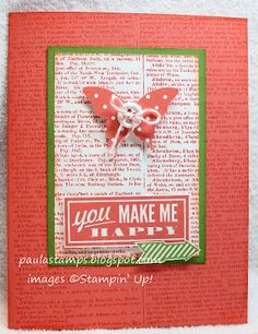 Hello Lovely stamp set, dictionary background stamp, Itty Bitty Butterfly Punch, Simply Pressed Clay, Buttons & Blossoms Clay Mold.  Colors: Coral Calypso, Gumball Green, and Whisper White.   by Stampin' with Paula: You Make Me Happy!