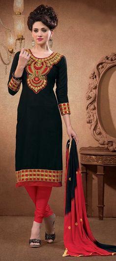 417602, Cotton Salwar Kameez, Party Wear Salwar Kameez, Cotton, Patch, Zari, Border, Machine Embroidery, Black and Grey Color Family