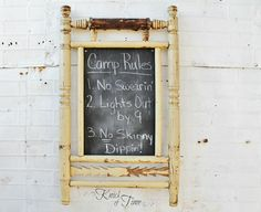 Antique Wooden Chalkboard - Created from Salvaged Rocking Chair by KnickofTime