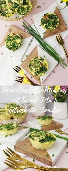 Mini-Omelette-Muffins mit Spinat, Feta und getrockneten Tomaten | vegetarisch | Ostern