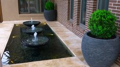 Triple shallow bowl pond Shallow, Water Features, Natural Stones, Pond, Fountain, Outdoor Decor, Design, Water Sources, Water Pond