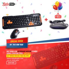 Special offer for you on #New #Year Guyz !!  Procure #Wireless #Keyboard #Mouse #Combo Using Coupon Code HNY2017 & Get wired Mouse Free Rs 199