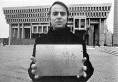 Carl Sagan holding Pioneer plaque. The Pioneer 10 and 11 probes were launched by NASA in 1972 and 1973 in order to study Solar winds and cosmic rays as they travel through the Solar System. - See more at: www.thestargarden...