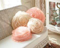 tulle rose pillows...