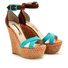 Rupert Sanderson Nissa Cork Wedges ($437) ❤ liked on Polyvore featuring shoes, sandals, wedges, heels, zapatos, aqua, ankle strap heel sandals, platform heel sandals, wedge sandals and ankle strap wedge sandals