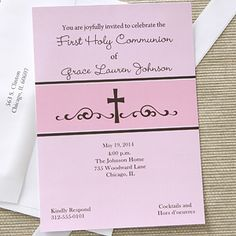First Communion Prayers Personalized Communion Invitations - Pink