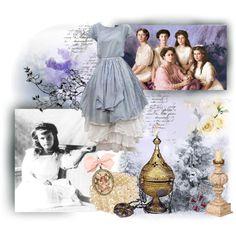 Romanov sisters by ladylindy on Polyvore featuring art, 20th century, olga, maria, otma, russian empire, russia, aleksandra feodorovna, history and vintage
