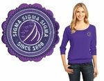Wear your Greek with style with our Sigma Sigma Sigma Ladies Modal Blend 3/4-Sleeve Raglan. Our Sigma Sigma Sigma 3.5-ounce, 60/40 ring spun combed cotton/modal.   Please note this is a �sim-stitch� item, meaning simulated stitching. Letters are heat applied and not sewn on the garment. They do have the same look as a sewn item!