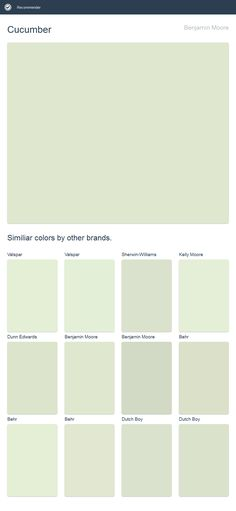 Cucumber, Benjamin Moore. Click the image to see similiar colors by other brands.