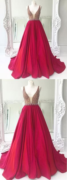 Burgundy satin V neck long sequins and beaded halter evening dress for teens #prom #dress #promdress #gown