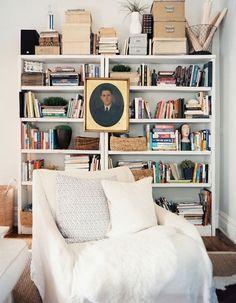 organized messy bookshelf