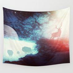 Deer tapestry, wolf tapestry, boho tapestry