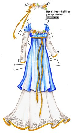 """March Birthday Gown with Blue Tunic and Daffodils""    [Liana's Paper Doll Blog]"