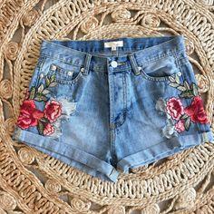 Fanny Floral Embroidered Denim Shorts