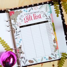 Download this pretty Christmas gift list for your planner! A5 and letter sizes included.