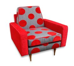 Retro Red & Grey Polka dot Arm Chair