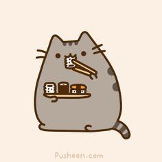 pusheen the cat sushi cat gif Chat Pusheen, Pusheen Love, Pusheen Stuff, Chat Kawaii, Kawaii Cat, Crazy Cat Lady, Crazy Cats, Illustration Kawaii, Sushi Cat