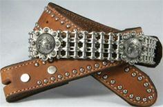 Pistolero - Brown Chain Belt with Antique Pistol Conchos
