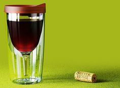 The Vino2Go™ tumbler - insulated wine glass with lid- for the tailgating wine fan!