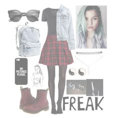 """""""Grunge"""" by aleigha-5sosfan ❤ liked on Polyvore featuring SPANX, Boohoo, H&M, Dr. Martens, Casetify, Wet Seal and Mudd"""