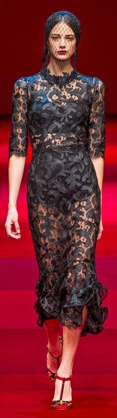 With a pretty, black, full slip.. Dolce & Gabbana Spring 2015