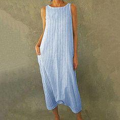 Stripe Dress A-line dress Organic Comfortable Style New Collection Anti-fit  Pastel Color Dress  knee length DressSummer dressbeach