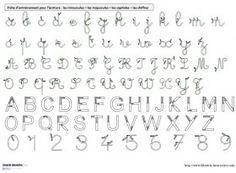 Modèles d'écriture à plastifier Des référents A4 avec les modèles d'écriture (cursives minuscules et majuscules, capitales et chiffres) à plastifier, pour s'entraîner à écrire.                                                                                                                            Plus