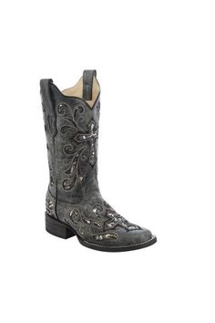 Corral Women's Sequin Cross Western Boots, Black, hi-res Black Cowgirl Boots, Cowboy Boots Women, Western Boots, Black Boots, Country Boots, Country Chic, Western Wear, Country Girls, Corral Boots