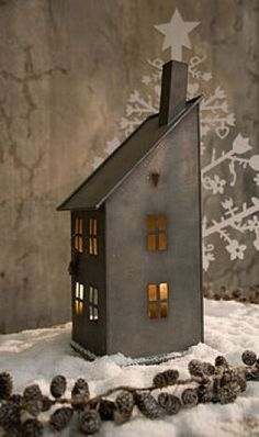 Merry Christmas Wishes : Illustration Description pentydeval: (via wall hung zinc house candle holder by barbed Clay Houses, Ceramic Houses, Paper Houses, Miniature Houses, Wooden Houses, Saltbox Houses, Putz Houses, Bird Houses, Country Christmas
