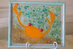 Crab Glass Mosaic  Mr Crabby  Suncatcher  by ByTheSeashoreDecor.