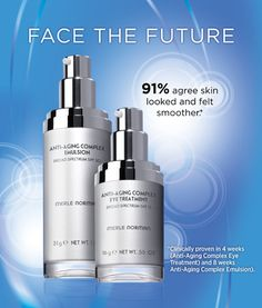 Anti-Aging Complex Emulsion Broad Spectrum SPF 30 and Anti-Aging Complex Eye Treatment Broad Spectrum SPF 15 is our clinically proven anti-aging skin care system that combines revolutionary anti-aging ingredients with highly effective Broad Spectrum sun protection.