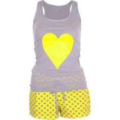 Chic Women's Polka Dot Short Heart… Cute Sleepwear, Girls Sleepwear, Cute Pjs, Cute Pajamas, Lounge Outfit, Lounge Wear, Sleepover Outfit, Pijamas Women, Girls Pjs