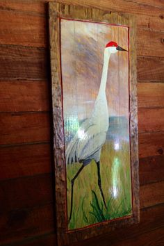 "Sand Hill Crane painting 48"" distressed frame one of a kind original art on reclaimed wood home decor wall hanging wildlife artist Todd Lynd by oceanarts10 on Etsy"