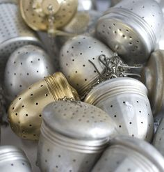 Tea balls.  The old fashioned, reusable way to have tea bags. Good for the environment.
