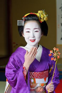 maiko Kyouka; Maiko is an apprentice Geiko (not exactly same as geisha) in Kyoto, western Japan. Their jobs consist of performing songs, dances, and playing the shamisen (three-stringed Japanese instrument) for visitors during feasts. Maiko are usually aged 15 to 20 years old and become Geiko after learning how to dance (a kind of Japanese traditional dance), play the shamisen, and learning Kyō-kotoba (dialect of Kyoto), regardless of their origins. Wikipedia