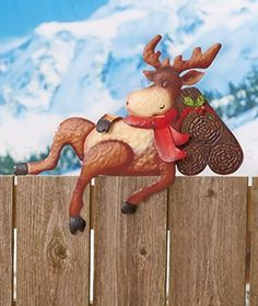 moose fence topper - Outdoor Moose Christmas Decorations