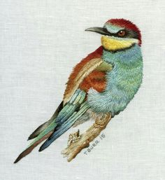 European Bee Eater stitched by Trish Burr. Size approx 15 x Personal work. Embroidered Bird, Bird Embroidery, Learn Embroidery, Embroidery Needles, Hand Embroidery Stitches, Embroidery Techniques, Cross Stitch Embroidery, Embroidery Patterns, Machine Embroidery